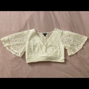 White Lace Crop Top Bell Sleeve, Tie Back. Express